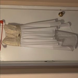 Cream ivory and white strapless dress